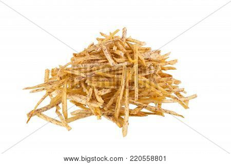 Fried Taro Slices Dip Into The Caramel Isolated On White Background.