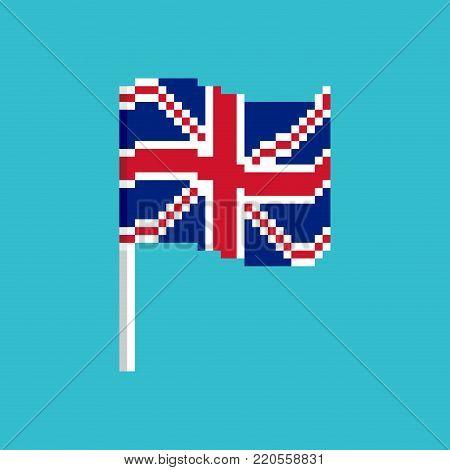 Great Britain Pixel flag. Pixelated banner British. political bit icon. Vector illustration