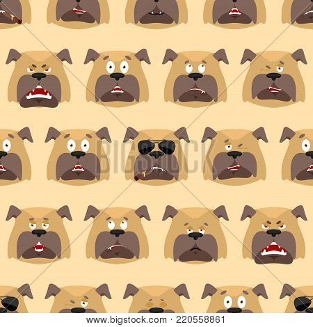 Dog head pattern. Pet background. Ornament face bulldog. Vector illustration
