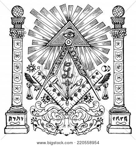 Graphic illustration with mason mysterious symbols. Freemasonry and secret societies emblems, occult and spiritual mystic drawings. Tattoo design, new world order