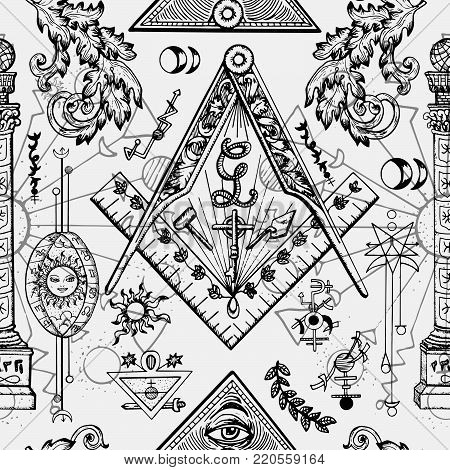 Seamless background with mason and mysterious symbols. Freemasonry and secret societies emblems, occult and spiritual mystic drawings. Tattoo design, new world order