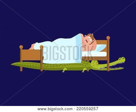 Crocodile under bed. frightened Man sleeps on bed. Vector illustration.