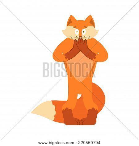 Fox scared OMG. Animal Oh my God emotion. Frightened she-fox. Vector illustration