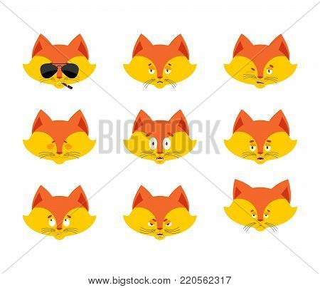 Fox set emoji avatar. sad and angry face. guilty and sleeping. Beast sleeping emotion face. She-fox sick. Vector illustration