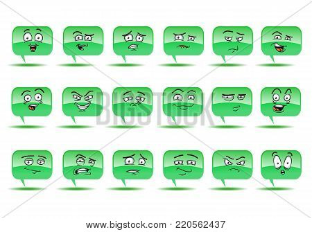 illustration of a expression on bubble talk avatar icon set on isolated white background