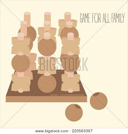 Wooden tic tac toe strategy board game. 3d toy. Criss-cross and zero on columns. Beads on pegs. Entertainment for family and children. Two people fun. Vector illustration