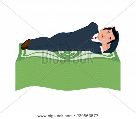 Man is sleeping on dollars. Money Under bed. Wealth. lot of cash. Lucky vector illustration