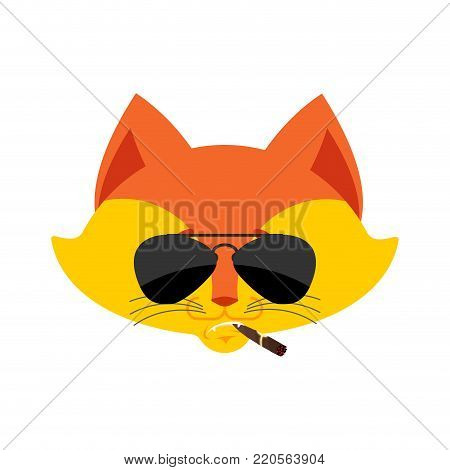 Fox Cool serious avatar of emotions. Animal smoking cigar emoji. Wild beast strict. Vector illustration