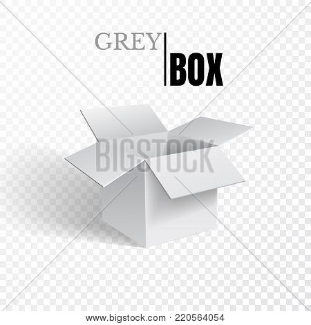 Open box, grey cardboard on transparent background, vector.