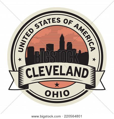 Stamp or label with name of Cleveland, Ohio, USA, vector illustration