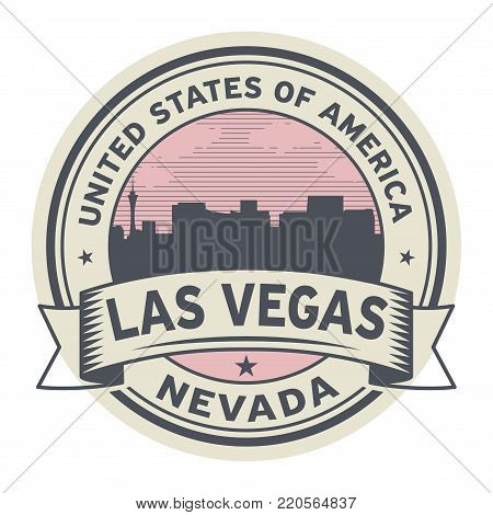 Stamp or label with name of Nevada, Las Vegas, USA, vector illustration