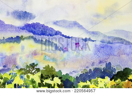 Watercolor painting original landscape colorful of fog mountain trees in morning and beauty season nature blue sky background. Hand Painted Impressionist, illustration.