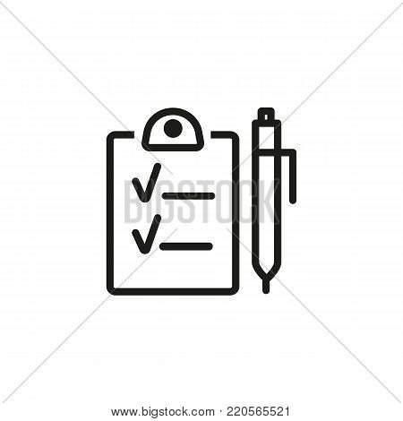 Line icon of paper with tick sign and pen. Questionnaire, list to do, personal organizer. Planning for management concept. Can be used for topics like business, marketing, employment