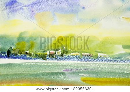 Abstract watercolor painting landscape on paper colorful of home garden view on mountain in the beauty spring season and blue sky cloud background. Painted Impressionist, illustration image.