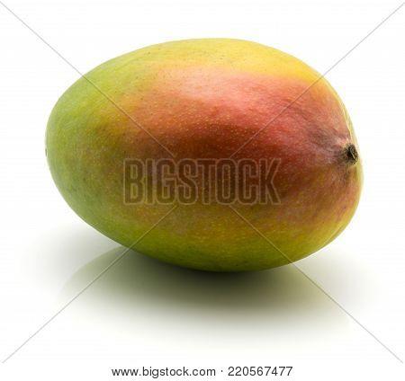 Fresh raw One mango isolated on white background