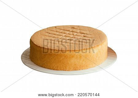 Homemade chiffon or sponge cake on white plate. Delicious sponge soft cake on white isolated background with clipping paths. Homemade bakery concept to present foam type cake so soft and lite good smell and delicious. Sponge cake with clipping paths.