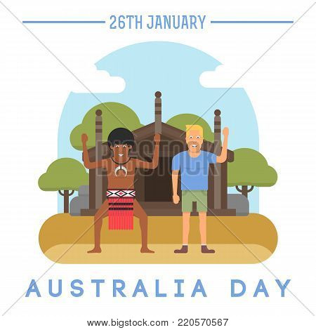 illustration of the European and the Australian aborigine that is holding the Australian flag in front of traditional aboriginal house. The Australia Day on January 26th.