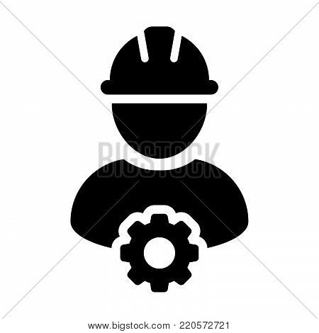 Service Icon Vector Male Person Worker Avatar Profile With Gear Cog Wheel For Engineering Support An