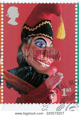 LUGA, RUSSIA - AUGUST 20, 2017: A stamp printed by GREAT BRITAIN shows Mr. Punch glove puppet - character from Punch and Judy Puppets Show, circa 2001