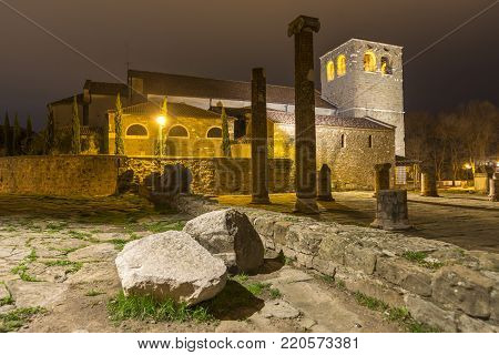 ancient Saint Justus Cathedral in Trieste, Italy by night