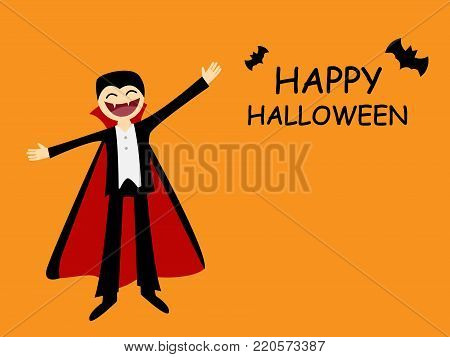 Halloween card with friendly dracula in flat style, vector