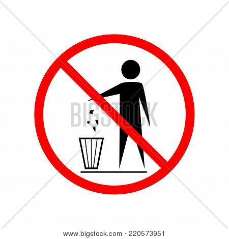 Do not litter sign. Silhouette person on white background. No throwing garbage mark in red circle. Take care of clean nature symbol. Colorful template for badge, banner, label. Vector illustration.