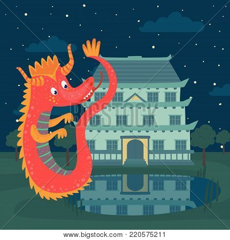 Cute red dragon next to a castle at night, fairy tale story for children vector Illustration, cartoon style
