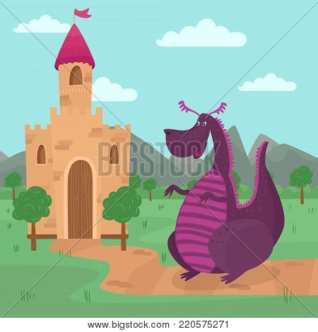 Cute dragon standing in front of a castle, fairy tale story for children vector Illustration, cartoon style