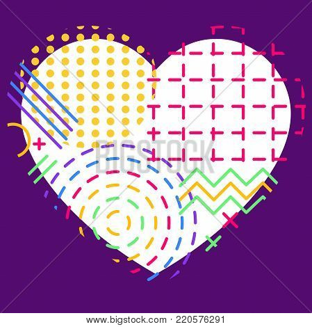 Colorful Abstract Geometric Flux Elements And Heart For Valentine's Day Or Wedding
