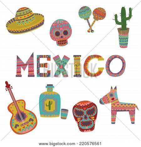 Mexico set, symbols of Mexican culture cartoon vector Illustrations on a white background