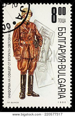 Moscow, Russia - January 02, 2018: A stamp printed in Bulgaria, shows uniform of Bulgarian officer of the Second World War, series