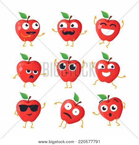 Funny apples - vector isolated cartoon emoticons. Cute emoji set with a nice character. A collection of an angry, surprised, happy, confused, crazy, laughing, sad, tired fruit on white background