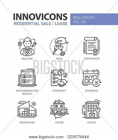 Residential sale and lease - line design icons set. Realtor, keys, certificate, accommodation search, contract, schedule, warehouse, house, office. Collection of blue, red high quality images