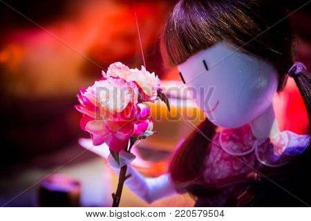 Close up on the face and hair in pigtails of a toy doll holding pink roses in its hand symbolic of love and romance