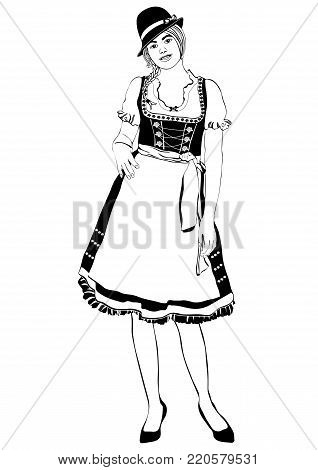 Woman Full-length Silhouette, With Pigtails And Cap, In Old Traditional National Dress With A Fluffy