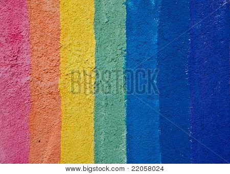 Rainbow color stripes painted on a wall. Background texture.