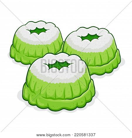 Vector stock of putu ayu indonesian traditional food made from flour, pandan, coconut milk and sugar with shredded coconut on top