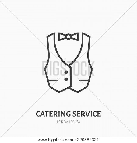 Waiter flat line icon. Vest, professional uniform sign. Thin linear logo for catering service.