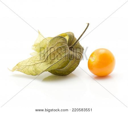 Two physalis isolated on white background one berry in hust and one orange berry