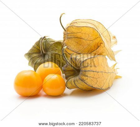 Physalis stack isolated on white background three orange berries and three in husk