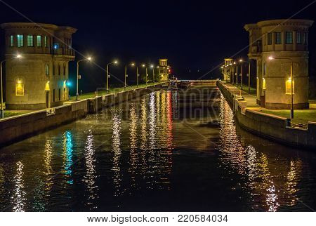 Gateway on Moscow Canal in night, Russia