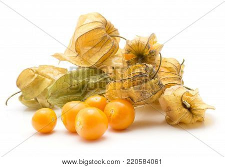 Physalis berries stack isolated on white background a lot of in husk five orange