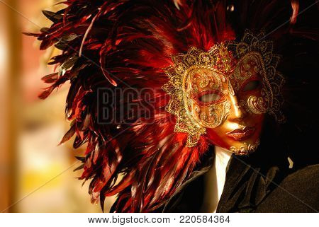 Traditional venetian mask in store on street, Venice Italy. Carnival of Venice.