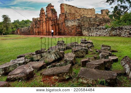 SAN IGNACIO MINI JEZIUTES RUINS, MISIONES, ARGENTINA - NOV 26, 2014: Ruins of the Jesuit reduction San Ignacio Mini of the Guaranisi, UNESCO World Heritage Site, Misiones, Argentina, South America
