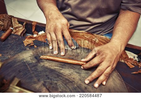 Closeup of hands making cigar from tobacco leaves. Traditional manufacture of cigars. Dominican Republic Vintage filter applied