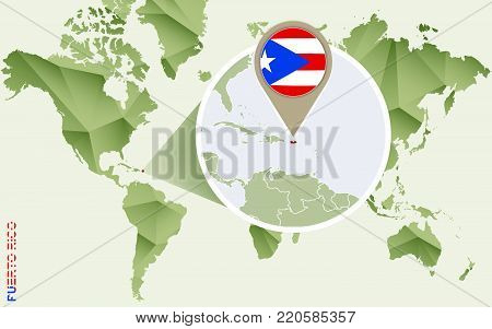 Infographic for Puerto Rico, detailed map of Puerto Rico with flag. Vector Info graphic green map.