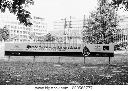 STRASBOURG, FRANCE - JUNE  6, 2015: World Blood Donor Day advertising banner in front of the Council of Europe in Strasbourg EDQM