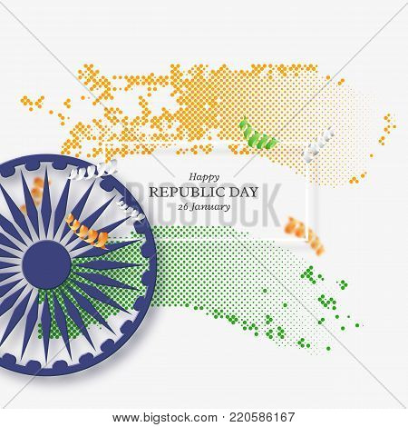 Indian republic day holiday background. 3d wheel with white frame and halftone effect in traditional tricolor of indian flag. Vector illustration.