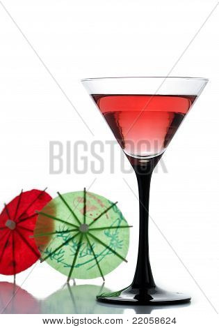 A Drink And Two Cocktail Umbrellas