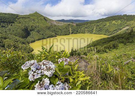 Santiago lake in Sao Miguel Island, Azores, Portugal